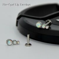 Trio Fire Snow Opal Labret Stud Tragus Ear Cartilage Earring Piercing Jewelry
