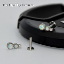 Trio Fire Snow Opal Labret Stud Tragus Ear Cartilage Earring Piercing Jewelry