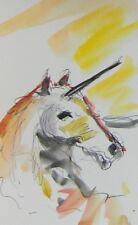 JOSE TRUJILLO ORIGINAL Watercolor Painting Magical Fantasy Unicorn Animal Artist