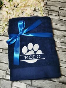 Personalised Embroidered Split Paw, Pet Bath Towel for Dog/Puppy, Gift, Grooming