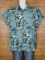 Jimmy Buffet's Margaritaville Blue Graphic Hawaiian Shirt Mens Size XL