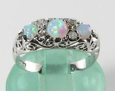 LARGE 9CT 9K WHITE GOLD VICTORIAN INS FIERY OPAL & DIAMOND RING FREE RESIZE
