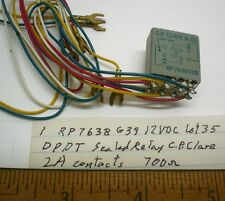1 Sealed Relay 12V DC, DPDT, 2A Contacts, CP CLARE #RP7638G39 Lot 35 Made in USA