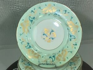 COALPORT STRANGE ORCHID MINT PEPPERMINT PASTEL GREEN DINNER PLATES SET OF 6