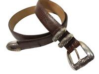 Vintage 1996 BRIGHTON Belt Mens Size L 38 Brown Reptile Embossed