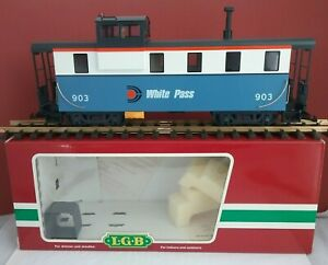 LGB G Scale 44710 White Pass WP&YR Blue and White Caboose #903