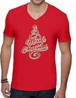 Merry Christmas Tree Mens V neck TShirt Christmas Xmas Shirt for Men
