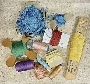 Sewing Thread Spools-Lot 11x-Cotton-Rayon-Silk-Crafts-Machine-Vintage
