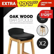 2x Oak Wood Bar Stools Wooden Dining Chairs Kitchen Side Padded Black 3621