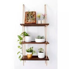 STELLARㄴDecorative Rustic Jute Rope Wall Hanging Floating Shelves, Wood, 3 Tier