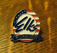 Elks Forever Lodge Lapel Pin - Vintage Club Member American Flag Patriotic Badge