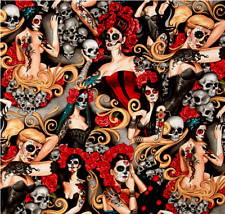 Halloween 100% Cotton Fabric Day of the Dead Sugar Skulls Pinup Roses Mexican
