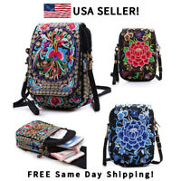Women Canvas Vintage Embroidered Crossbody Bag Small Messenger Bags Pouch US
