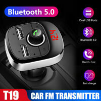 Car Wireless Bluetooth FM Handsfree Kit Transmitter MP3 Player Dual USB Charger~