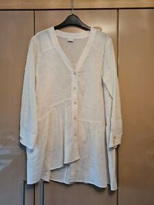 POETRY IVORY COTTON LINEN MIX V NECKED QUIRKY HEM TUNIC BLOUSE SIZE 10 BNWOT