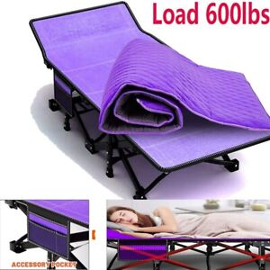 Folding Camping Bed 2-Layer Oxford Heavy Duty outdoor Sleeping Cot W/Carry Bag