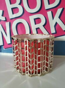 Bath & Body Works GOLD KNITTED CHEVRONS 3-Wick Candle Holder Sleeve Large NWT