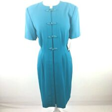 Debra Michaels Collection Women'S Dress Sz 6 Turquoise Front Frog Buttons Nwt