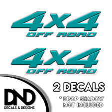 4x4 Off Road Decals 2 Pk Sticker for Ford Chevy Sierra truck - Teal D&