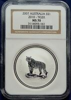 2007 2010 1 oz NGC MS70 Silver Australian Tiger  Coin Bullion 70! Australia