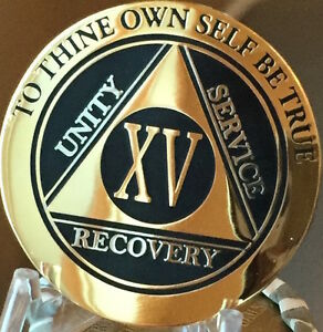 15 Year AA Medallion Black Gold Plated Bi-Plate Alcoholics Anonymous Chip Coin