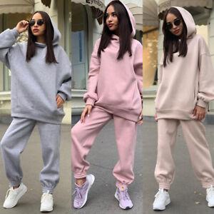 Womens Casual Hoodies Sweatshirt Pants Set Ladies Winter Jogging Tracksuit Size