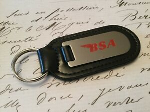 BSA Key Ring Etched and infilled On Leather