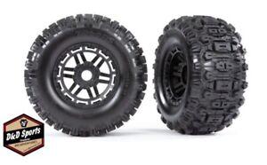 Traxxas's 8973 Tires & wheels assembled glued black wheels Sledgehammer MAXX