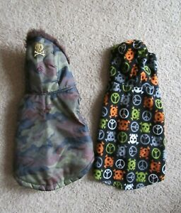 SimplyDog Hooded Black Skulls Peace Signs Fleece Coat & Green/Brown Camo Jacket