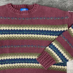 Vintage 1990s Pendleton LOBO Made in USA Striped Heavy Sweater size Large