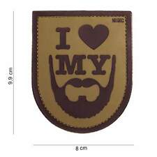 3D PVC I Love My Beard Tactical Military Army Airsoft Funny Morale Patch Coyote