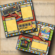 CLASS ACT ~ school 2 premade scrapbooking pages paper  BOY GIRL layout DIGISCRAP