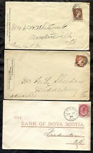 p890 - ST STEPHEN NB QV Period Lot of (3) Covers - Bank - Two to USA