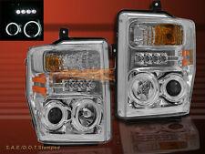 2008-2010 FORD F250/F350/F450 CHROME PROJECTOR HEADLIGHTS CCFL TWIN HALO w/LED