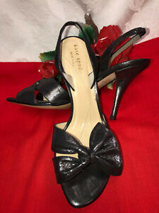 Kate Spade New York Made in Italy Women Gray silver leather heel Sandals. 5.5B.