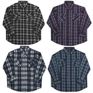 Mens Check Shirt Micro Fleece Lumberjack Warm Winter Gents Casual Work Brushed