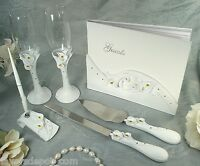 Guest book, Toasting flutes, Cake set and Pen set Calla lily design Wedding Set