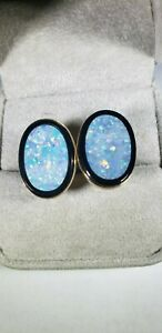 SOLID 14K YELLOW GOLD OPAL & BLACK ONYX BULLET BACK CUFF LINKS