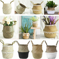 Seagrass Woven Storage Wicker Basket Flower Plants Straw Pots Bag Home Decor UK