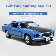Welly 1:18 Scale Diecast Model 1969 Ford Mustang BOSS 302 Blue for Collection