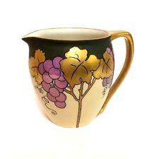Willets Belleek Artiest Signed G P. Leawt Grape Wine Art Deco Pitcher Heavy Gold