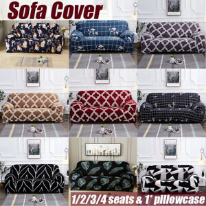1-4 Seats Elastic Sofa Covers Slipcover Settee Stretch Floral Couch  U