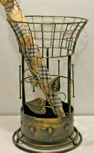 Antique Looking Copper Brown Round Metal Wrought iron Umbrella Holder Stand NEW