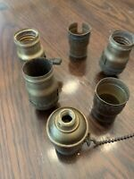 Lot Of 6 Vintage Weber Electric Lamp Fatboy Sockets Parts Restore Brass 2 Shell