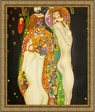 Water Serpents by Gustav Klimt 85cm x 72.5cm Framed Ornate Gold