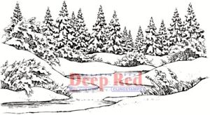 Deep Red Stamps Winter Stream Rubber Cling Stamp