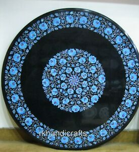 36 Inches Marble Office Table Top with Turquoise Stone Inlaid Dining table top