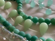 Lot of 5 Strands, Assorted Turquoise & Green Colored Beads, TearDrop, Crystal
