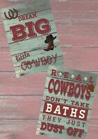 COWBOY PICTURES X 2 CHILDREN'S BEDROOM, PLAYROOM -QUALITY IMAGES FOR FRAMING NEW