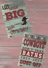 COWBOY PICTURES X 2 CHILDREN'S BEDROOM, PLAYROOM - Just pop in a frame!